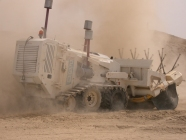 Land mine clearing machine in operation