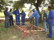 Cleared Ground land mine clearing team with local land mine clearing technicians